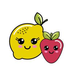 Kawaii happy lemon and strawberry icon vector