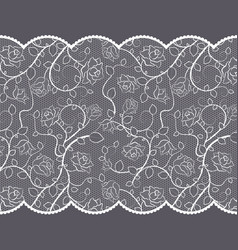 Lace pattern with roses on gray background vector