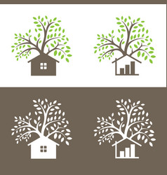 Logo design of a trees and small house vector