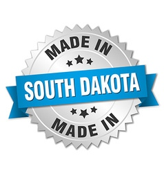 Made in South Dakota silver badge with blue ribbon vector