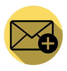mail sign with add mark flat vector image