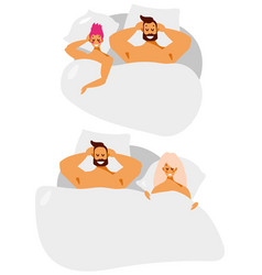 Man and woman couple at bed vector