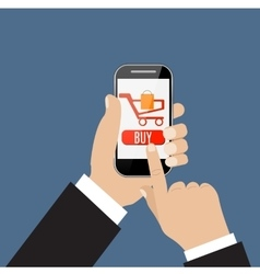 mobile shopping button vector image