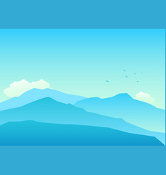 mountains landscape in blue colors vector image