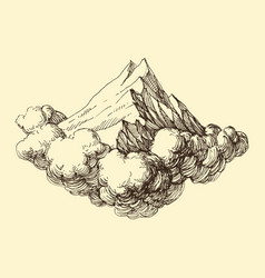 mountains ranges in clouds hand drawing vector image