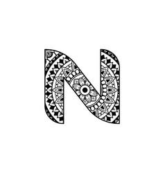 N letter mandala pattern art vector
