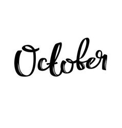 October month name handwritten calligraphic word vector