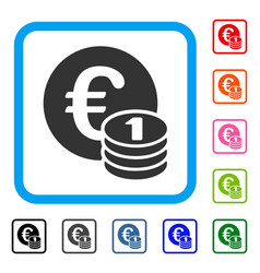 One euro coin stack framed icon vector
