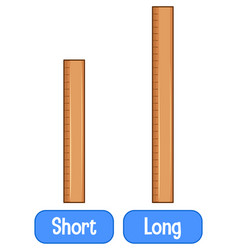 Opposite adjectives words with short ruler vector