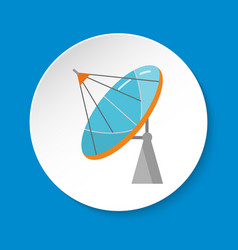 parabolic antenna icon in flat style on round vector image