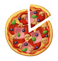 Pizza with sausages ham muchrooms top view vector