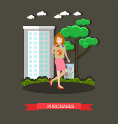 purchases concept in flat vector image