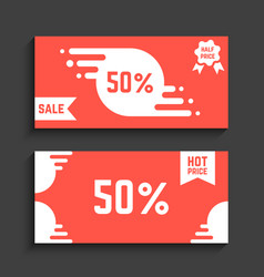 red flyers with discounts vector image