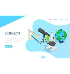 research page with science items medicine vector image