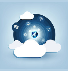 round blue design with a computer cloud vector image