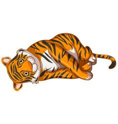 Sad tiger on white background vector