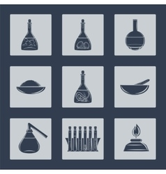 Science lab equipment icons set vector
