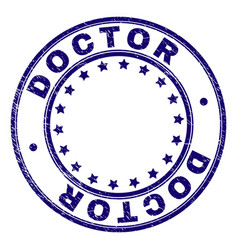 Scratched textured doctor round stamp seal vector