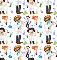 Seamless male and female scientists vector image