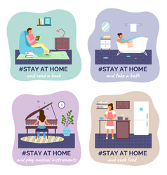 Self isolation stay at home concept people vector