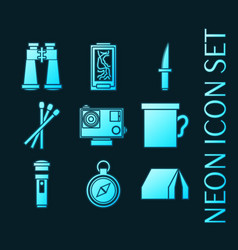 Set survival kit blue glowing neon icons vector