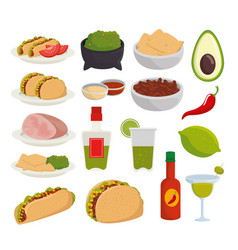 set traditional mexico food to celebration event vector image