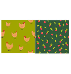 set two seamless patterns with hens and vector image