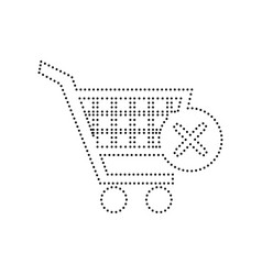 shopping cart with delete sign black vector image