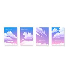 Sky cloud posters set vector