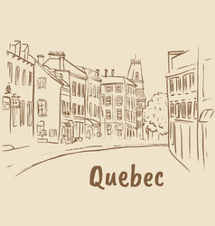 St jean street in quebec vector