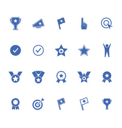 Success winning sports and business icons set vector