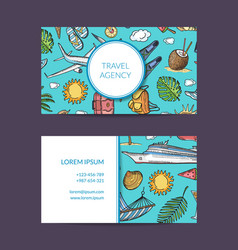 Summer travel elements business card vector