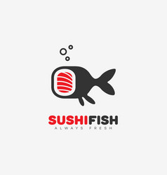 sushi fish logo vector image