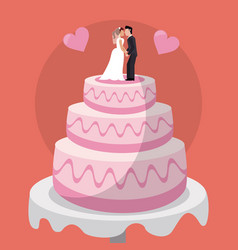 Sweet cake couple dolls wedding vector
