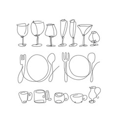 table setting items continuous line drawing set vector image