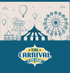 the carnival fun fair amusement park vector image