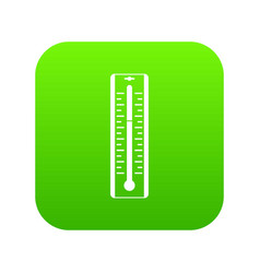Thermometer with degrees icon digital green vector
