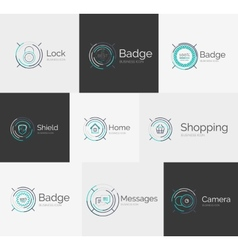Thin line neat design logo collection vector