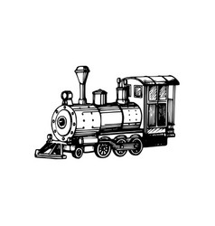 toy locomotive hand drawn in engraved vector image