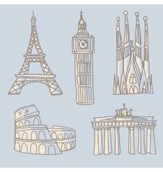Travel landmarks doodle vector
