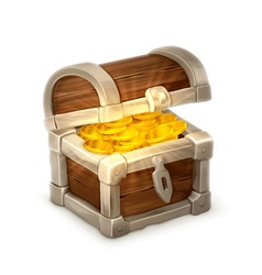 Treasure chest isolated on white background vector image vector image