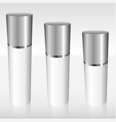 white airless bottles with a silver cap vector image