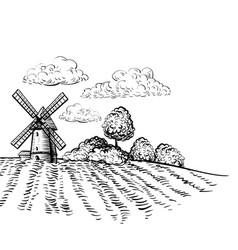 windmill on agricultural field hand drawn sketch vector image