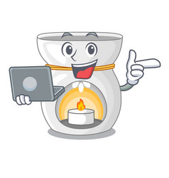 With laptop aroma lamp in a cartoon versions vector