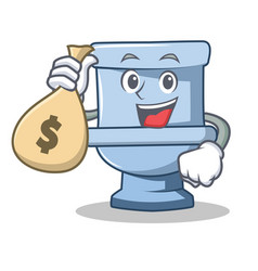 with money bag toilet character cartoon style vector image