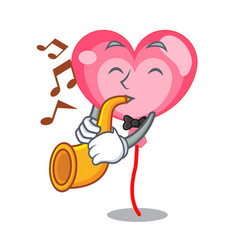with trumpet ballon heart mascot cartoon vector image