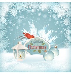 Xmas Bird Lantern Christmas Balls Background vector image