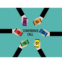 conference call people hold phone with hand vector image vector image