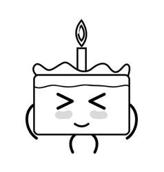 Line kawaii cute funny cake dessert vector