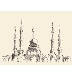 Mosque vintage hand drawn sketch vector image